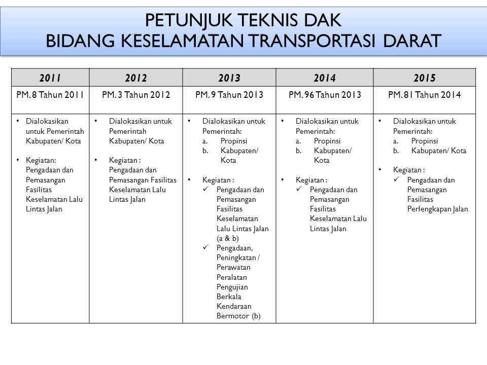 PETUNJUK TEKNIS DAK BIDANG KESELAMATAN TRANSPORTASI DARAT 20112012201320142015 PM.