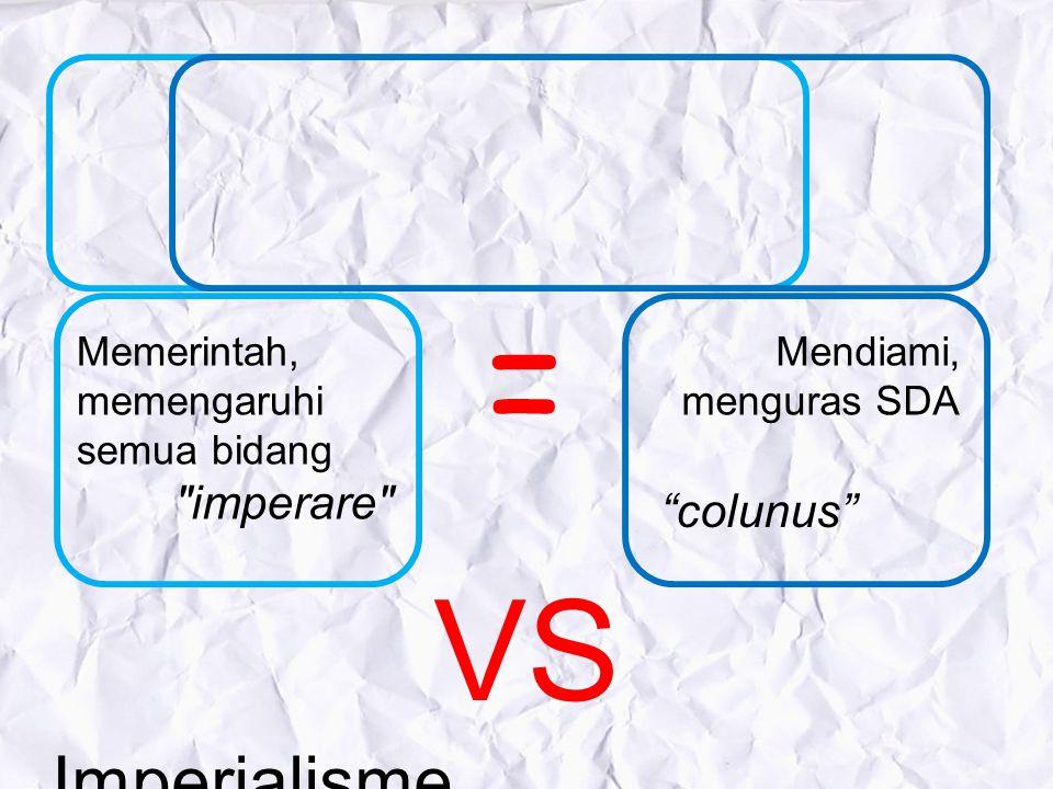 Imperialisme Kolonialisme VS. Memerintah, memengaruhi semua bidang Mendiami, menguras SDA