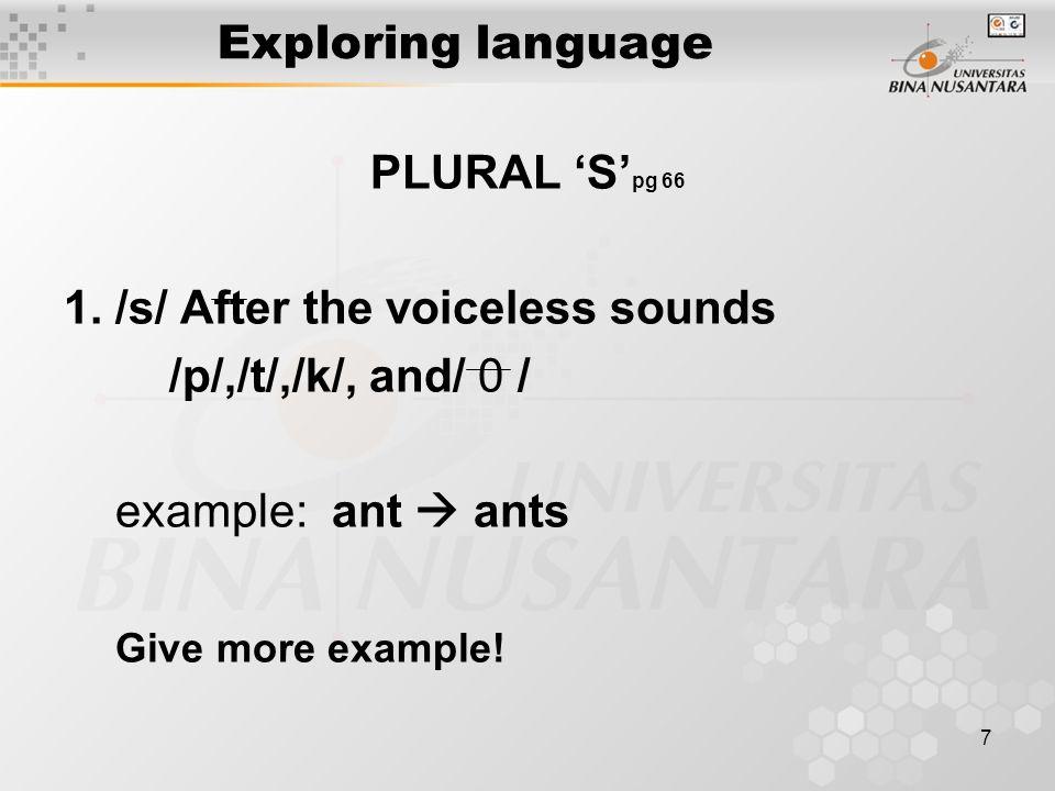 7 Exploring language PLURAL 'S' pg 66 1.
