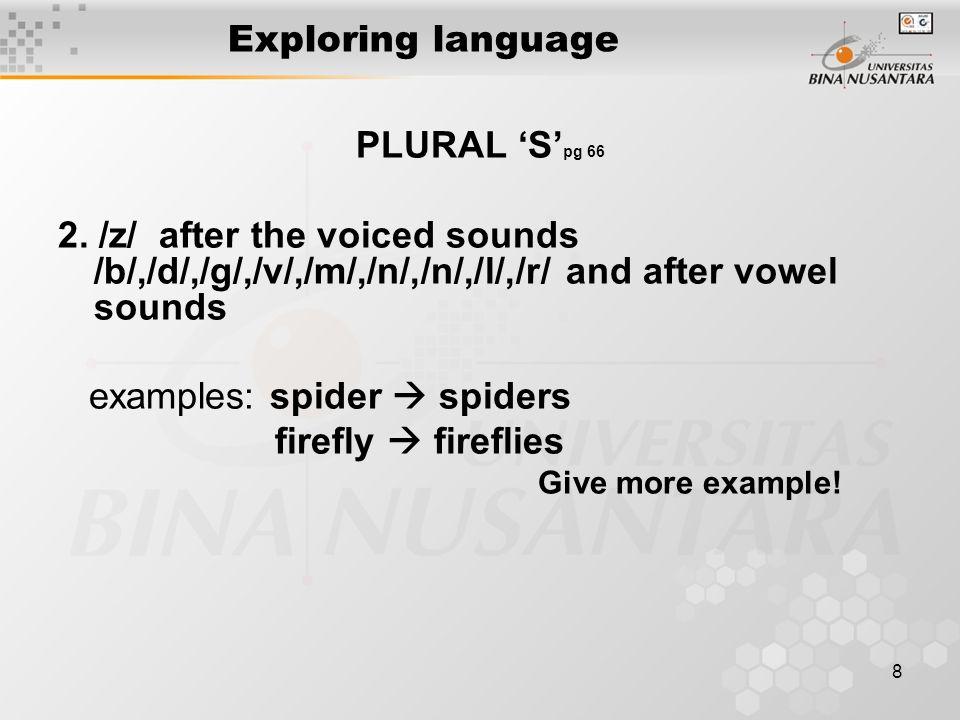 8 Exploring language PLURAL 'S' pg 66 2.