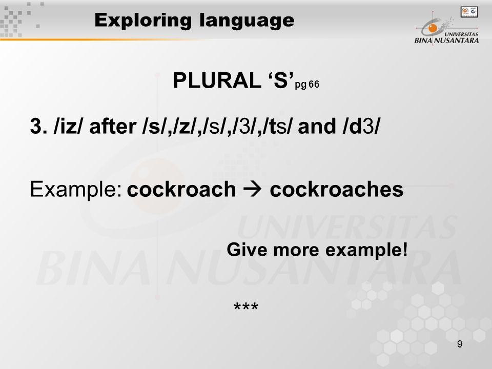 9 Exploring language PLURAL 'S' pg 66 3.