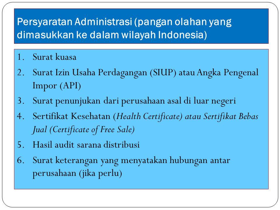 Persyaratan Administrasi (pangan olahan yang dimasukkan ke dalam wilayah Indonesia) 1.Surat kuasa 2.Surat Izin Usaha Perdagangan (SIUP) atau Angka Pen