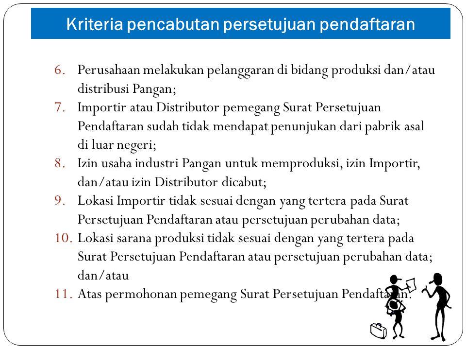 6.Perusahaan melakukan pelanggaran di bidang produksi dan/atau distribusi Pangan; 7.Importir atau Distributor pemegang Surat Persetujuan Pendaftaran s