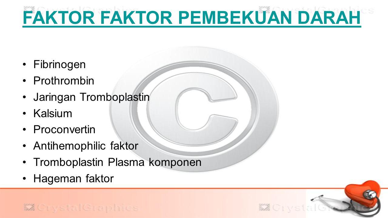 FAKTOR FAKTOR PEMBEKUAN DARAH Fibrinogen Prothrombin Jaringan Tromboplastin Kalsium Proconvertin Antihemophilic faktor Tromboplastin Plasma komponen H
