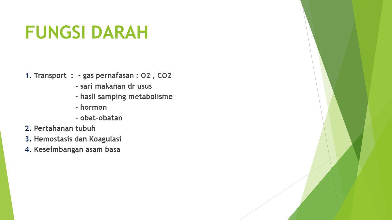 FUNGSI DARAH 1. Transport : - gas pernafasan : O2, CO2 - sari makanan dr usus - hasil samping metabolisme - hormon - obat-obatan 2. Pertahanan tubuh 3
