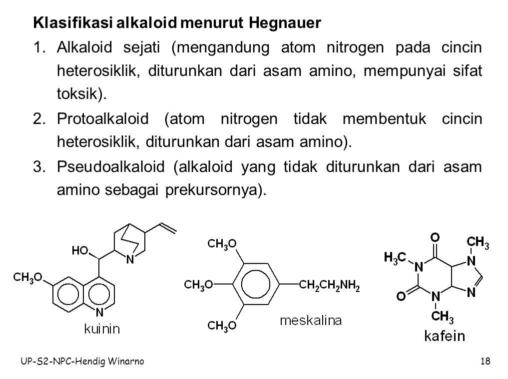 UP-S2-NPC-Hendig Winarno18 Klasifikasi alkaloid menurut Hegnauer 1.Alkaloid sejati (mengandung atom nitrogen pada cincin heterosiklik, diturunkan dari