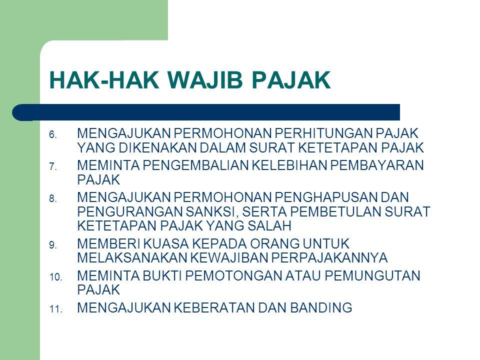HAK-HAK WAJIB PAJAK 6. MENGAJUKAN PERMOHONAN PERHITUNGAN PAJAK YANG DIKENAKAN DALAM SURAT KETETAPAN PAJAK 7. MEMINTA PENGEMBALIAN KELEBIHAN PEMBAYARAN