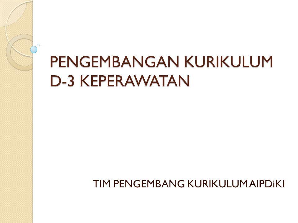 PENGEMBANGAN KURIKULUM D-3 KEPERAWATAN TIM PENGEMBANG KURIKULUM AIPDiKI
