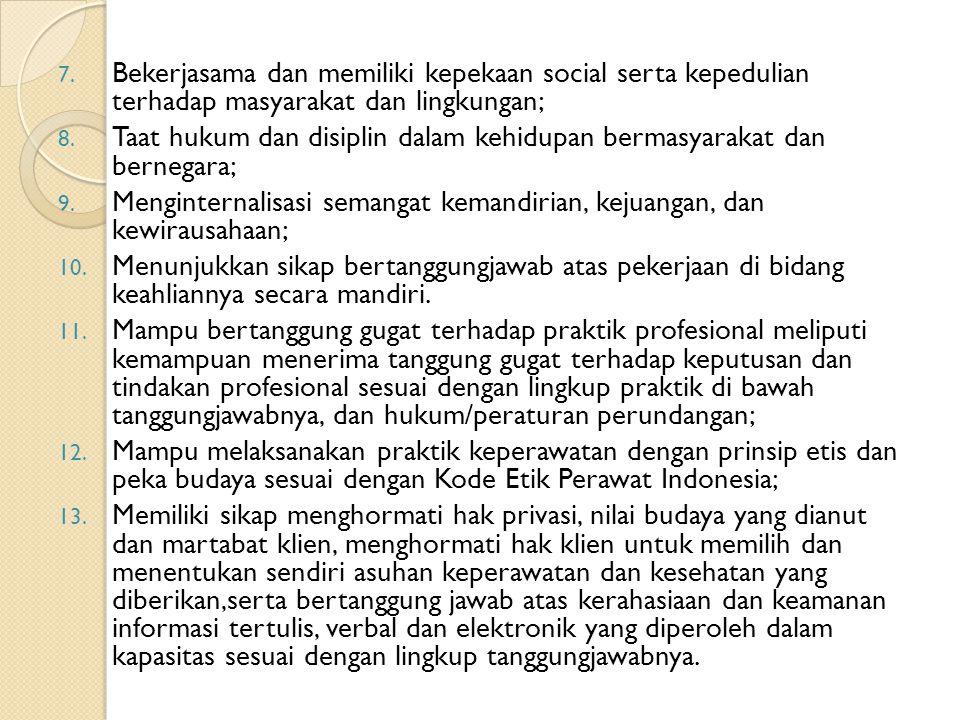 7. Bekerjasama dan memiliki kepekaan social serta kepedulian terhadap masyarakat dan lingkungan; 8. Taat hukum dan disiplin dalam kehidupan bermasyara