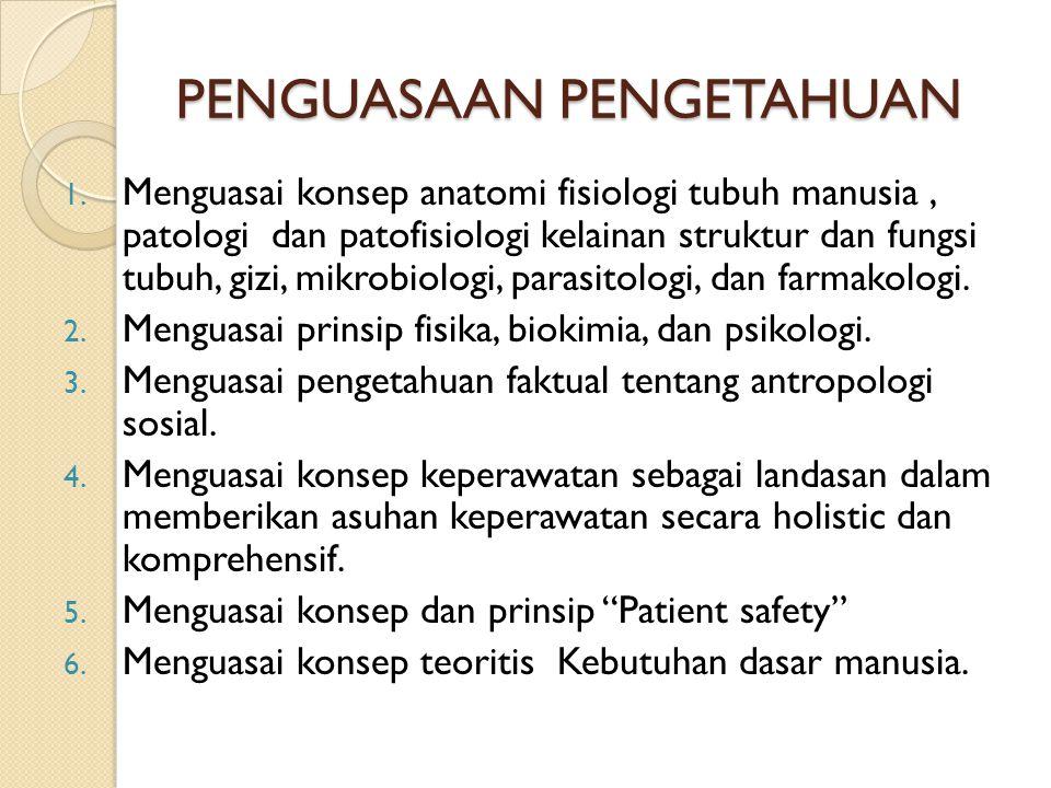 PENGUASAAN PENGETAHUAN 1. Menguasai konsep anatomi fisiologi tubuh manusia, patologi dan patofisiologi kelainan struktur dan fungsi tubuh, gizi, mikro