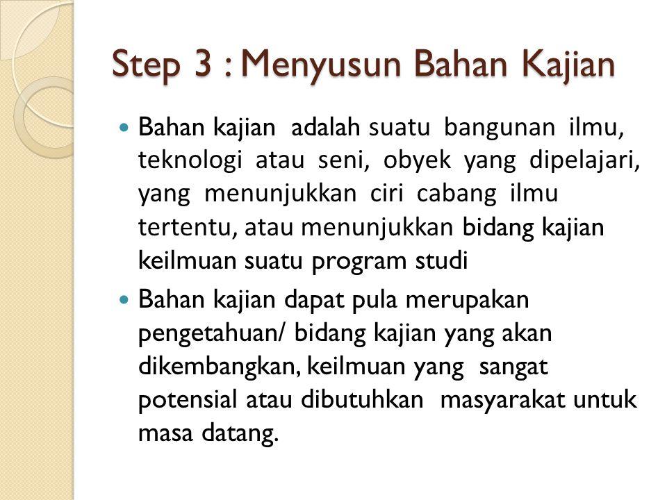 Step 3 : Menyusun Bahan Kajian Bahan kajian adalah suatu bangunan ilmu, teknologi atau seni, obyek yang dipelajari, yang menunjukkan ciri cabang ilmu
