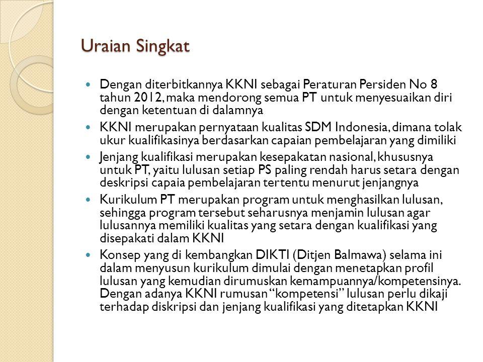 Uraian Singkat Dengan diterbitkannya KKNI sebagai Peraturan Persiden No 8 tahun 2012, maka mendorong semua PT untuk menyesuaikan diri dengan ketentuan