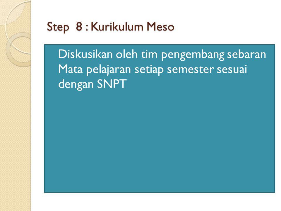 Step 8 : Kurikulum Meso Diskusikan oleh tim pengembang sebaran Mata pelajaran setiap semester sesuai dengan SNPT
