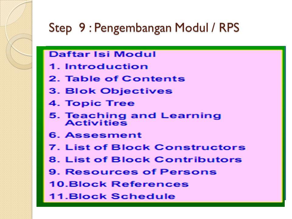 Step 9 : Pengembangan Modul / RPS