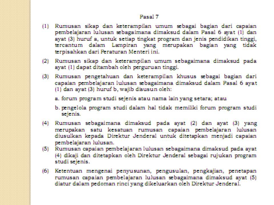 PERUBAHAN KONSEP KURIKULUM PENDIDIKAN TINGGI DI INDONESIA Kurikulum Nasional Kurikulum inti & institusional Kurikulum Pendidikan Tinggi KBI : MKDK MKK KBK : Kompetensi Utama Kompetensi Pendukung Kompetensi lainnya KKNI dan SNPT : Kompetensi lulusan = capaian pembelajaran minimal MK Wajib 100-110 sks Kompetensi Utama : Kesepakatan program studi sejenis Perumusan kompetensi lulusan melibatkan kelompok ahli yang relavan, asosiasi profesi, institusi pemerintah terkait/pengguna lulusan