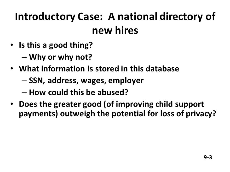 Introductory Case: A national directory of new hires Is this a good thing.