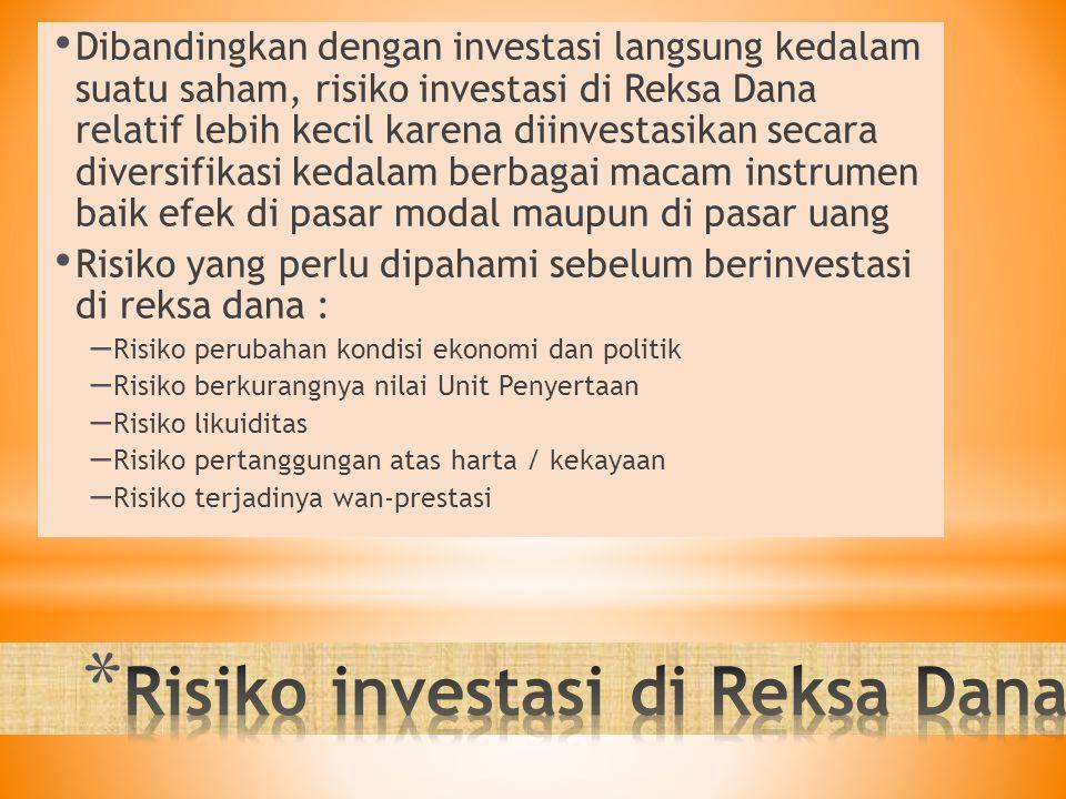Dibandingkan dengan investasi langsung kedalam suatu saham, risiko investasi di Reksa Dana relatif lebih kecil karena diinvestasikan secara diversifik