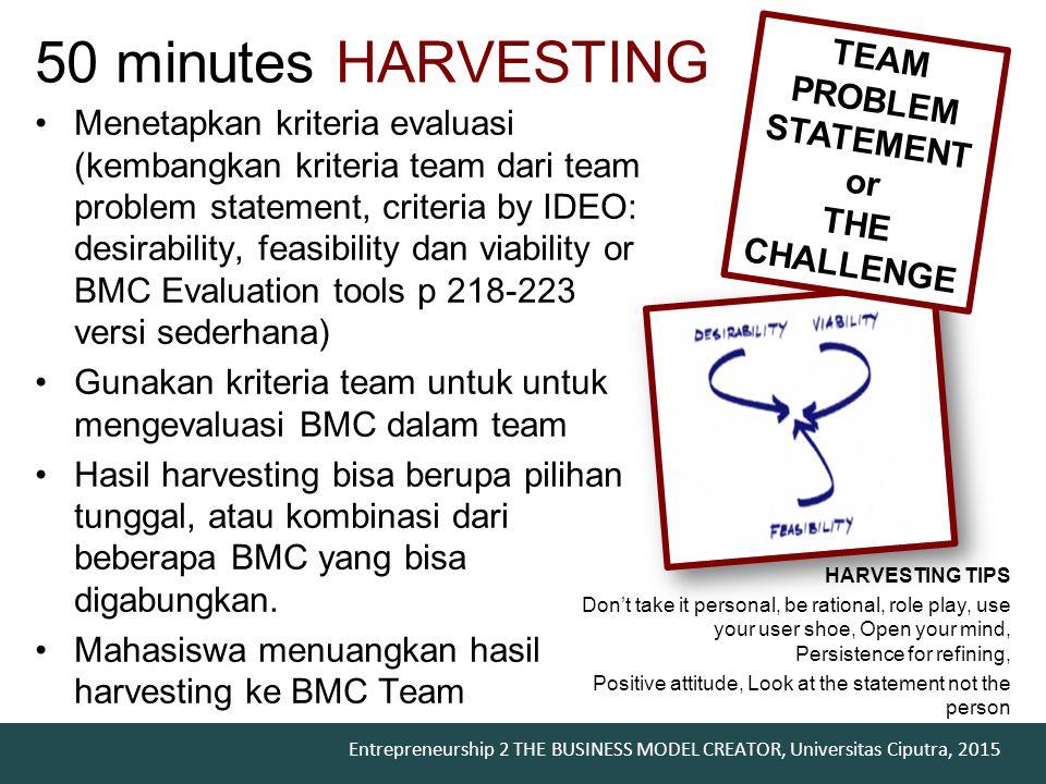 Entrepreneurship 2 THE BUSINESS MODEL CREATOR, Universitas Ciputra, 2015 50 minutes HARVESTING Menetapkan kriteria evaluasi (kembangkan kriteria team