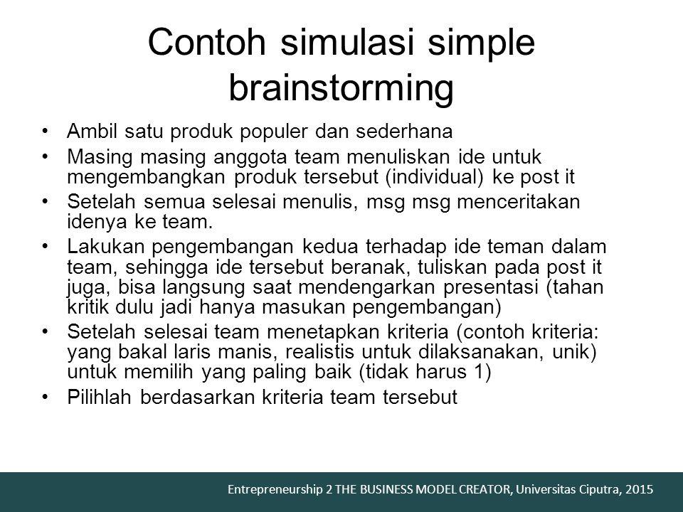 Entrepreneurship 2 THE BUSINESS MODEL CREATOR, Universitas Ciputra, 2015 Contoh simulasi simple brainstorming Ambil satu produk populer dan sederhana