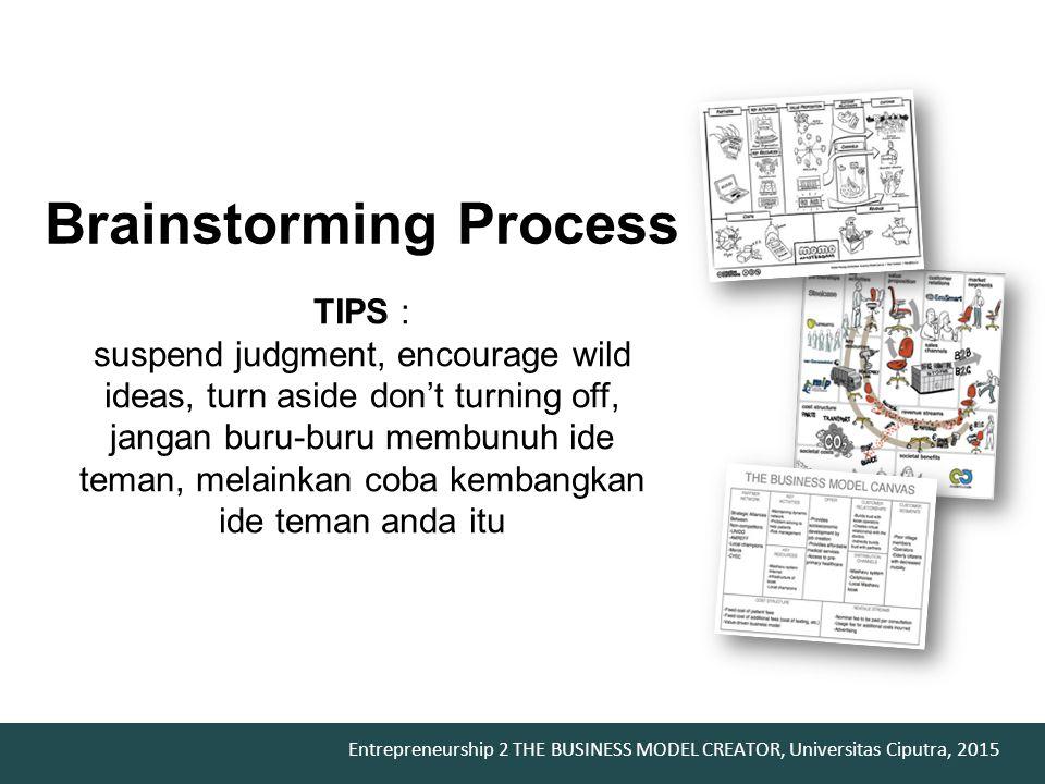 Entrepreneurship 2 THE BUSINESS MODEL CREATOR, Universitas Ciputra, 2015 Brainstorming Process TIPS : suspend judgment, encourage wild ideas, turn asi