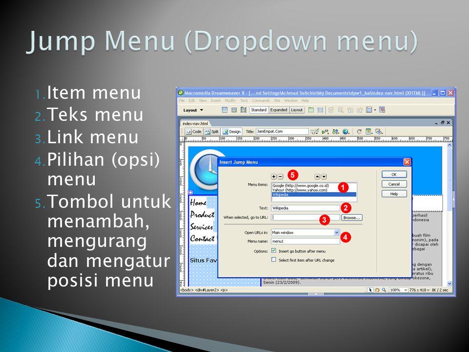 1. Item menu 2. Teks menu 3. Link menu 4. Pilihan (opsi) menu 5.