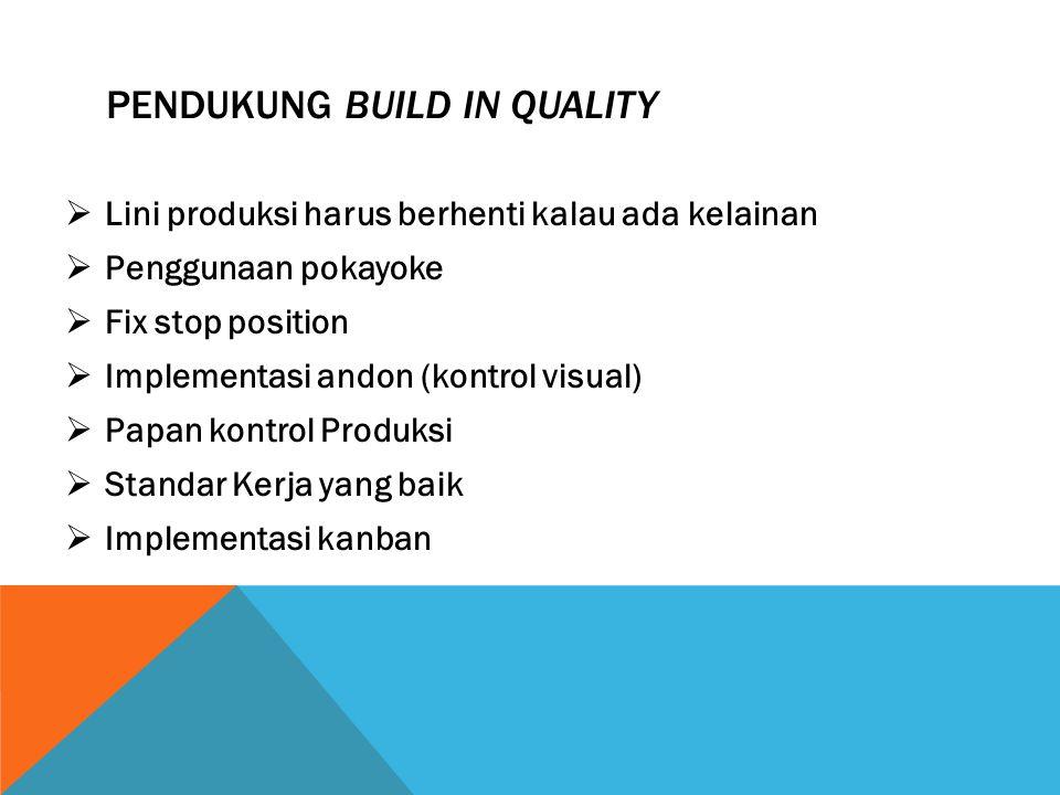 PENDUKUNG BUILD IN QUALITY  Lini produksi harus berhenti kalau ada kelainan  Penggunaan pokayoke  Fix stop position  Implementasi andon (kontrol v