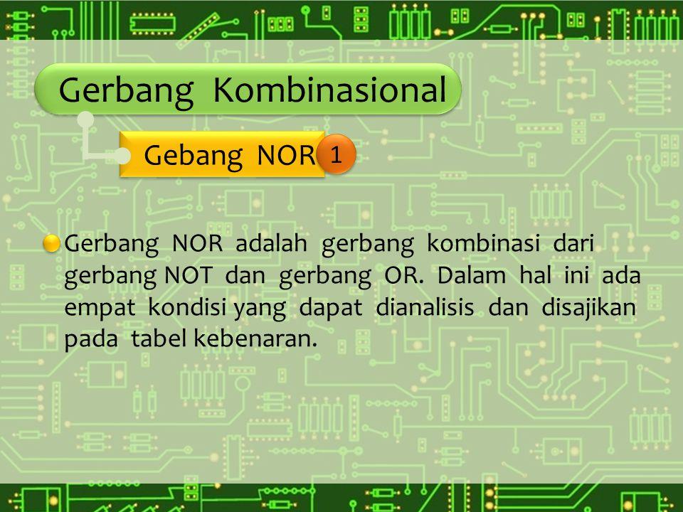 Gerbang Kombinasional Gerbang NOR adalah gerbang kombinasi dari gerbang NOT dan gerbang OR. Dalam hal ini ada empat kondisi yang dapat dianalisis dan