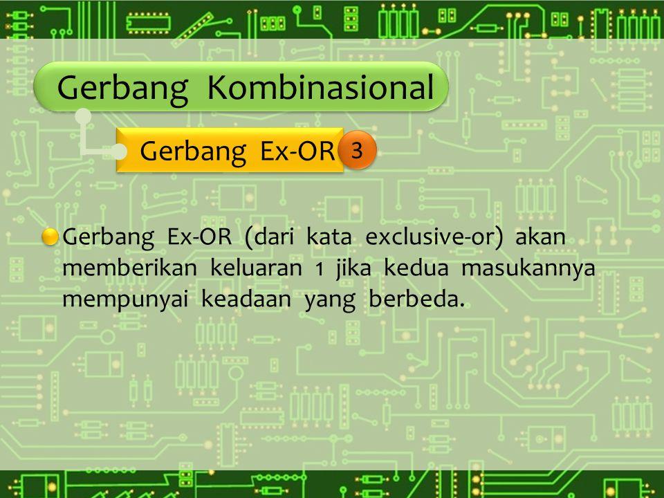 Gerbang Kombinasional Gerbang Ex-OR (dari kata exclusive-or) akan memberikan keluaran 1 jika kedua masukannya mempunyai keadaan yang berbeda. Gerbang