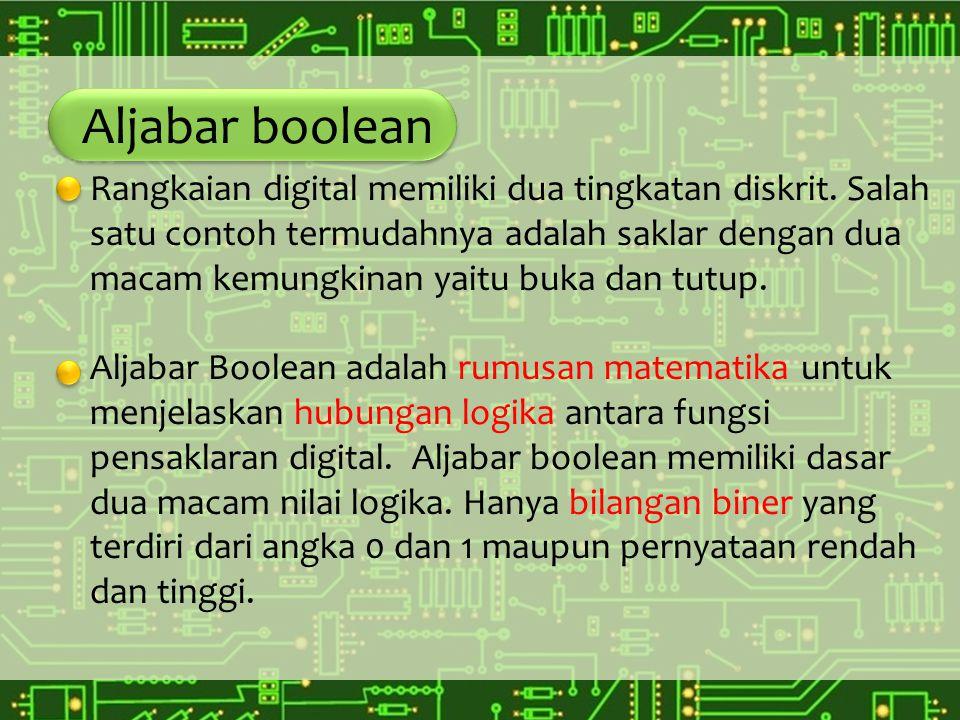 Aljabar boolean Suatu fungsi logika atau operasi logika yang dimaksud dalam aljabar Boolean adalah suatu kombinasi variable biner seperti misalnya pada masukan dan keluaran dari suatu rangkaian digital yang dapat ditunjukkan bahwa di dalam aljabar Boolean semua hubungan logika antara variable variable biner dapat dijelaskan oleh tiga operasi logika dasar