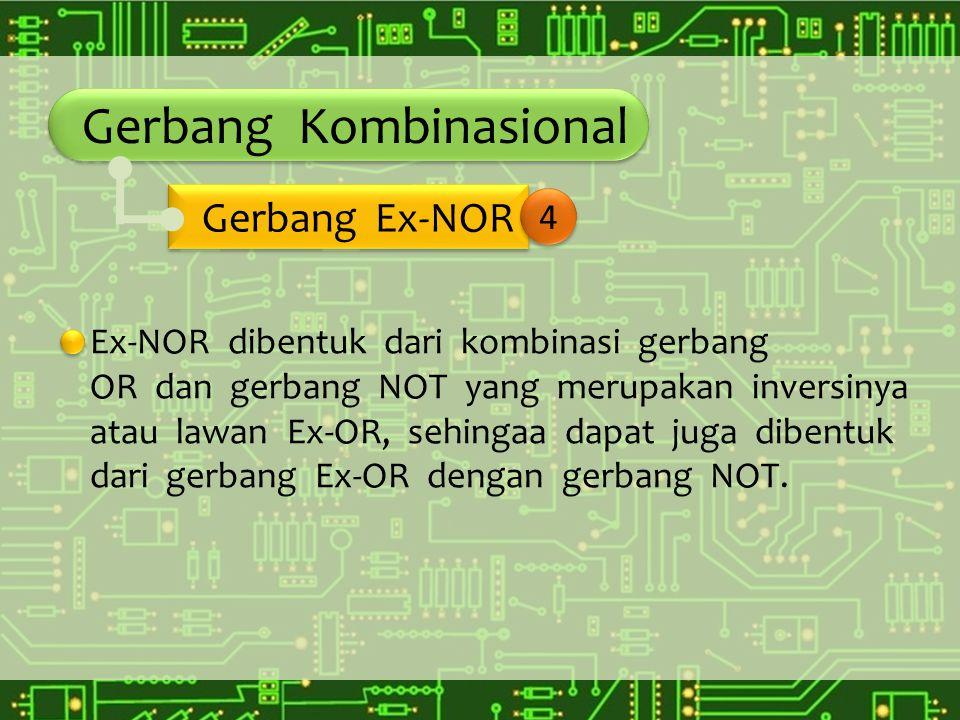 Gerbang Kombinasional Ex-NOR dibentuk dari kombinasi gerbang OR dan gerbang NOT yang merupakan inversinya atau lawan Ex-OR, sehingaa dapat juga dibent