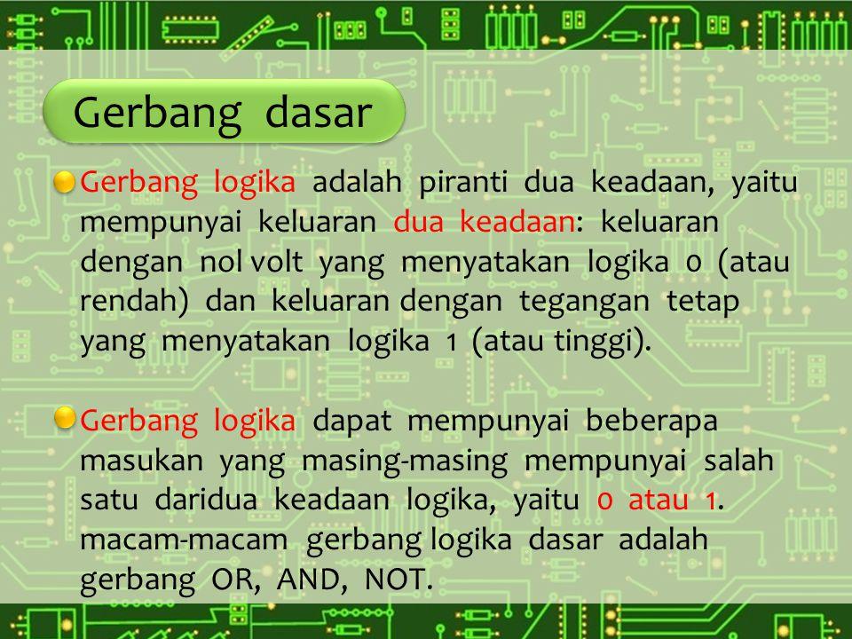 Gerbang dasar Gerbang logika adalah piranti dua keadaan, yaitu mempunyai keluaran dua keadaan: keluaran dengan nol volt yang menyatakan logika 0 (atau