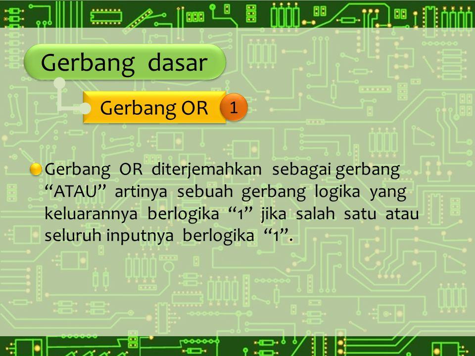 """Gerbang dasar Gerbang OR diterjemahkan sebagai gerbang """"ATAU"""" artinya sebuah gerbang logika yang keluarannya berlogika """"1"""" jika salah satu atau seluru"""