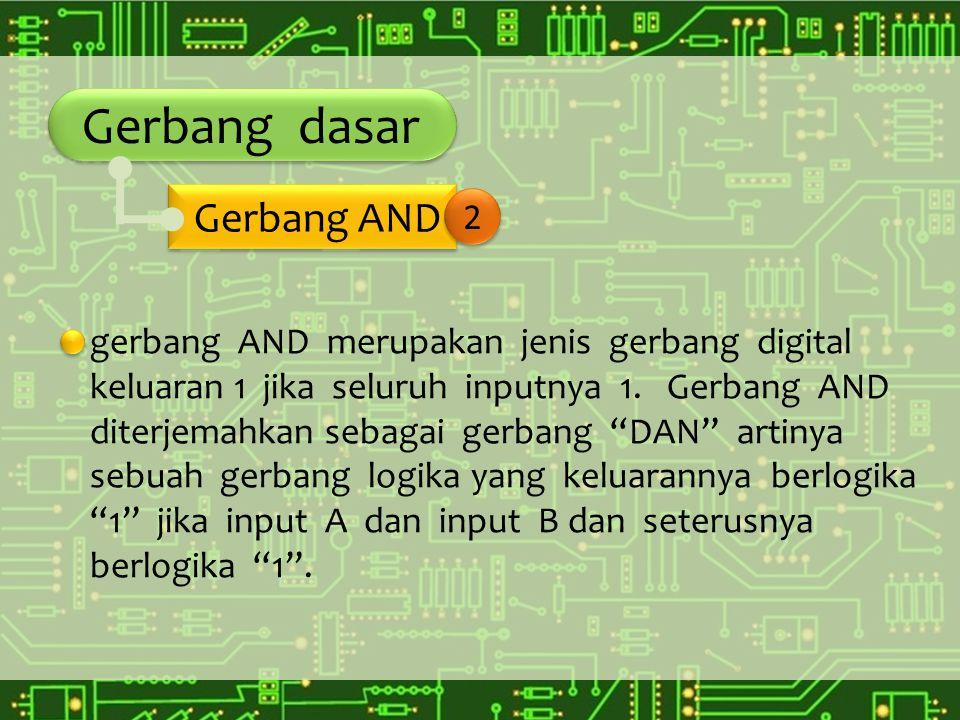 """Gerbang dasar gerbang AND merupakan jenis gerbang digital keluaran 1 jika seluruh inputnya 1. Gerbang AND diterjemahkan sebagai gerbang """"DAN"""" artinya"""