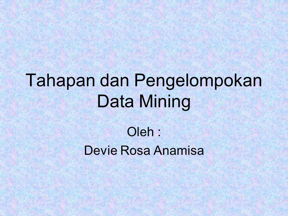 Tahapan dan Pengelompokan Data Mining Oleh : Devie Rosa Anamisa