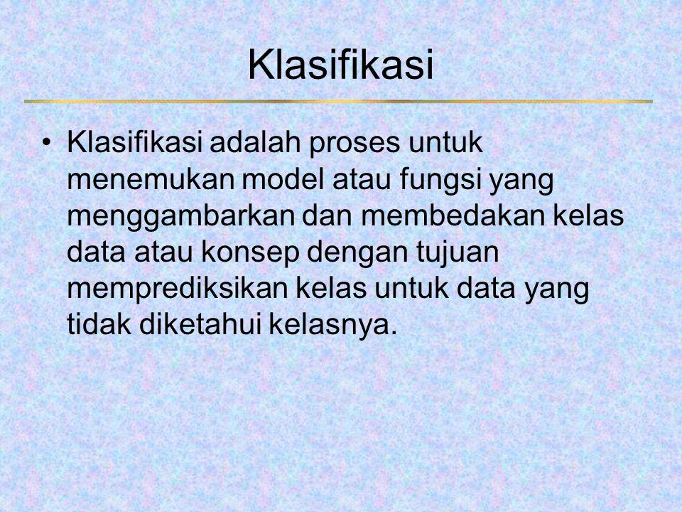 Klasifikasi Klasifikasi adalah proses untuk menemukan model atau fungsi yang menggambarkan dan membedakan kelas data atau konsep dengan tujuan mempred