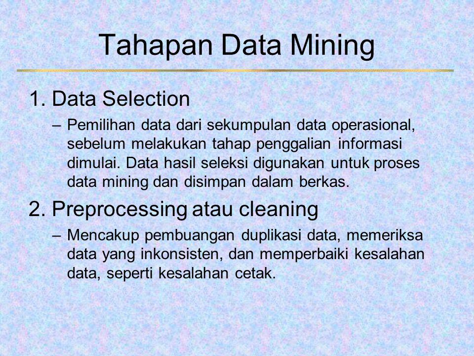 Tahapan Data Mining 1. Data Selection –Pemilihan data dari sekumpulan data operasional, sebelum melakukan tahap penggalian informasi dimulai. Data has