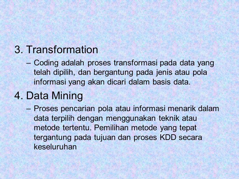 3. Transformation –Coding adalah proses transformasi pada data yang telah dipilih, dan bergantung pada jenis atau pola informasi yang akan dicari dala