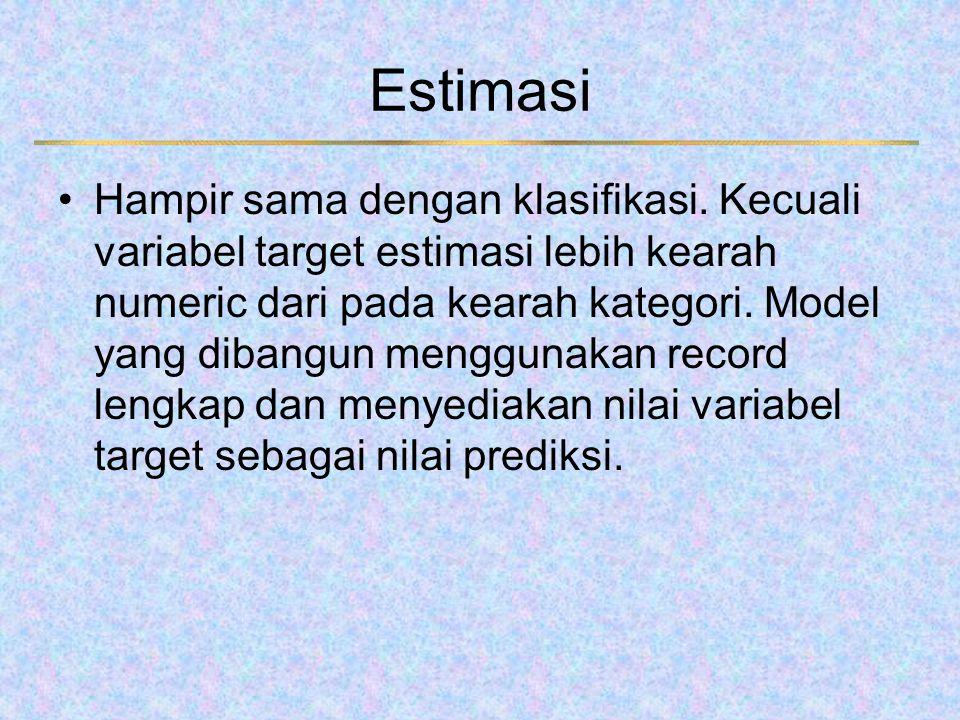 Estimasi Hampir sama dengan klasifikasi. Kecuali variabel target estimasi lebih kearah numeric dari pada kearah kategori. Model yang dibangun mengguna