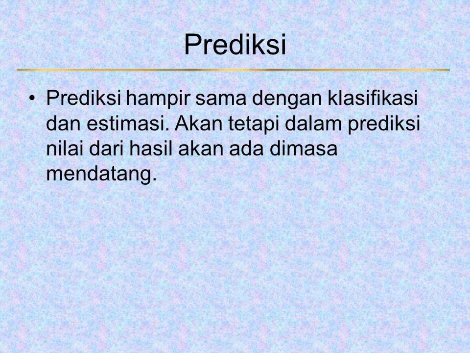 Prediksi Prediksi hampir sama dengan klasifikasi dan estimasi. Akan tetapi dalam prediksi nilai dari hasil akan ada dimasa mendatang.