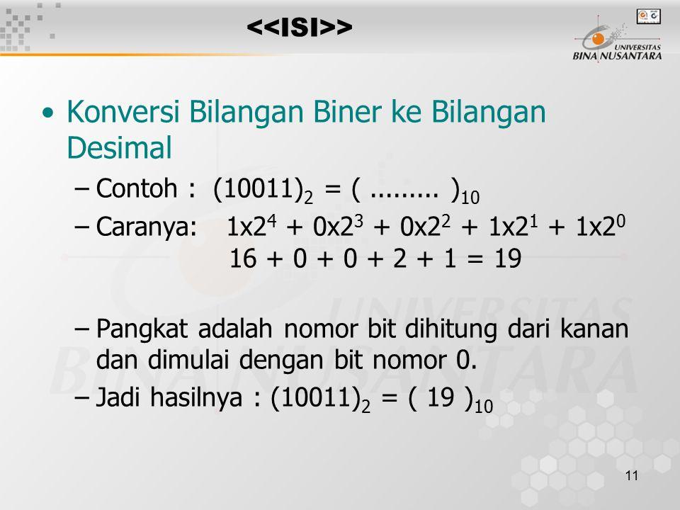 11 > Konversi Bilangan Biner ke Bilangan Desimal –Contoh : (10011) 2 = (.........