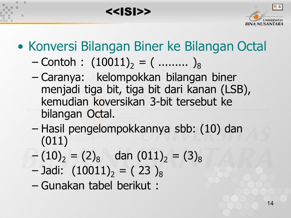 14 > Konversi Bilangan Biner ke Bilangan Octal –Contoh : (10011) 2 = (.........