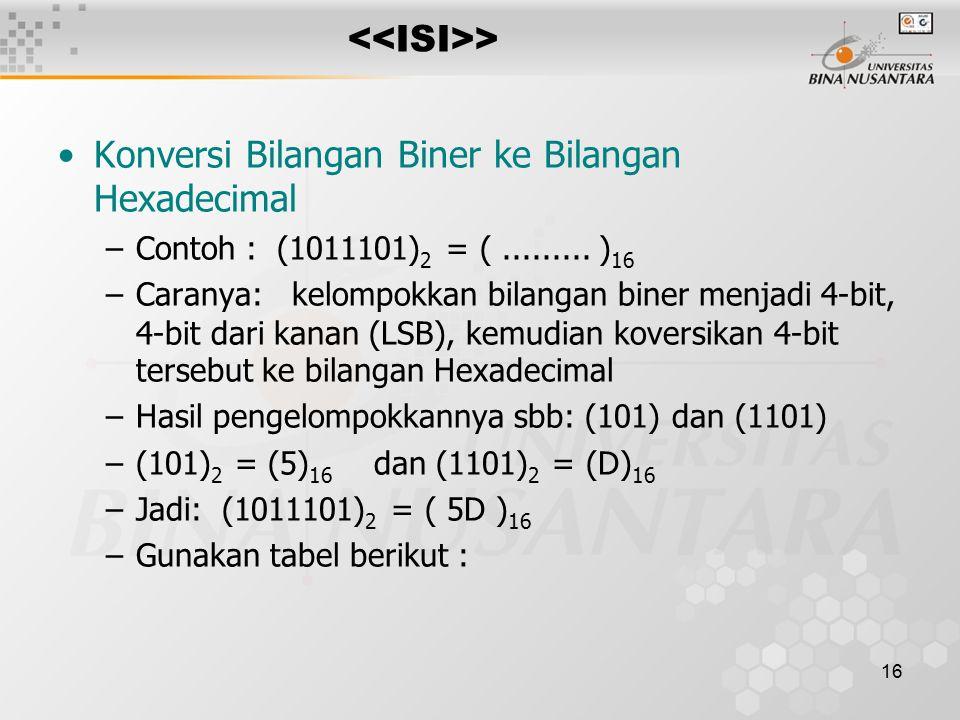 16 > Konversi Bilangan Biner ke Bilangan Hexadecimal –Contoh : (1011101) 2 = (.........