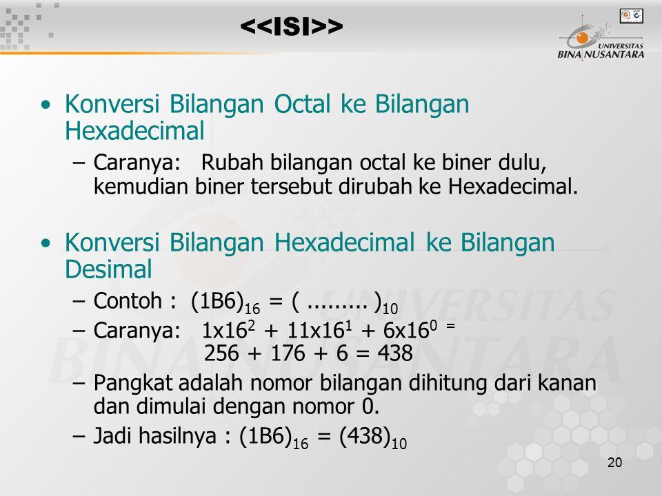 20 > Konversi Bilangan Octal ke Bilangan Hexadecimal –Caranya: Rubah bilangan octal ke biner dulu, kemudian biner tersebut dirubah ke Hexadecimal.