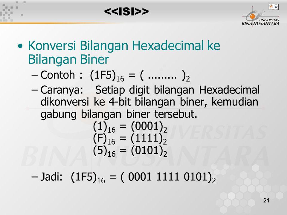 21 > Konversi Bilangan Hexadecimal ke Bilangan Biner –Contoh : (1F5) 16 = (.........