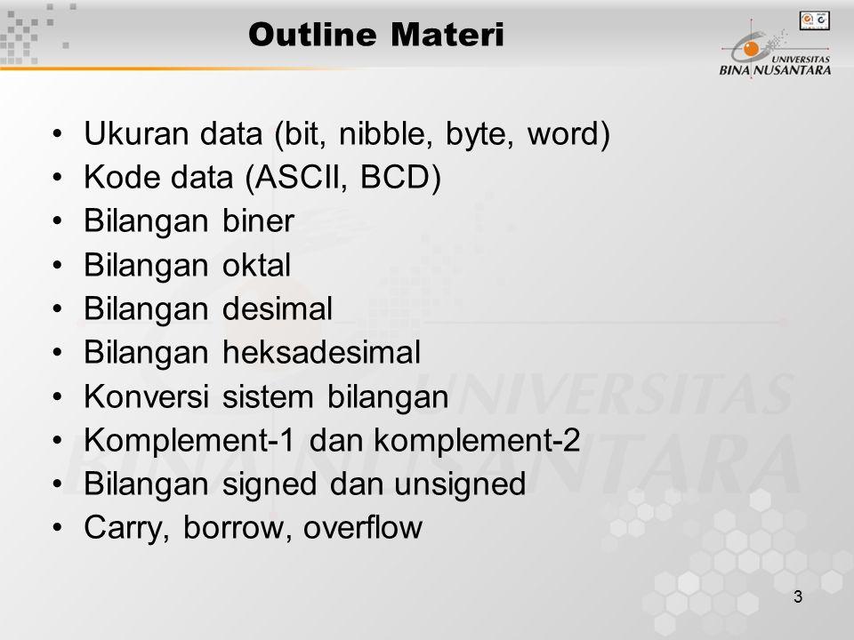 3 Outline Materi Ukuran data (bit, nibble, byte, word) Kode data (ASCII, BCD) Bilangan biner Bilangan oktal Bilangan desimal Bilangan heksadesimal Konversi sistem bilangan Komplement-1 dan komplement-2 Bilangan signed dan unsigned Carry, borrow, overflow
