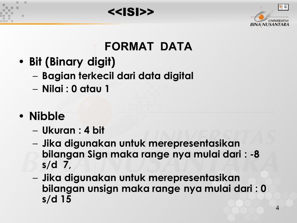 4 > FORMAT DATA Bit (Binary digit) – Bagian terkecil dari data digital – Nilai : 0 atau 1 Nibble – Ukuran : 4 bit – Jika digunakan untuk merepresentasikan bilangan Sign maka range nya mulai dari : -8 s/d 7, – Jika digunakan untuk merepresentasikan bilangan unsign maka range nya mulai dari : 0 s/d 15