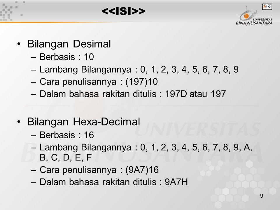 9 > Bilangan Desimal –Berbasis : 10 –Lambang Bilangannya : 0, 1, 2, 3, 4, 5, 6, 7, 8, 9 –Cara penulisannya : (197)10 –Dalam bahasa rakitan ditulis : 197D atau 197 Bilangan Hexa-Decimal –Berbasis : 16 –Lambang Bilangannya : 0, 1, 2, 3, 4, 5, 6, 7, 8, 9, A, B, C, D, E, F –Cara penulisannya : (9A7)16 –Dalam bahasa rakitan ditulis : 9A7H