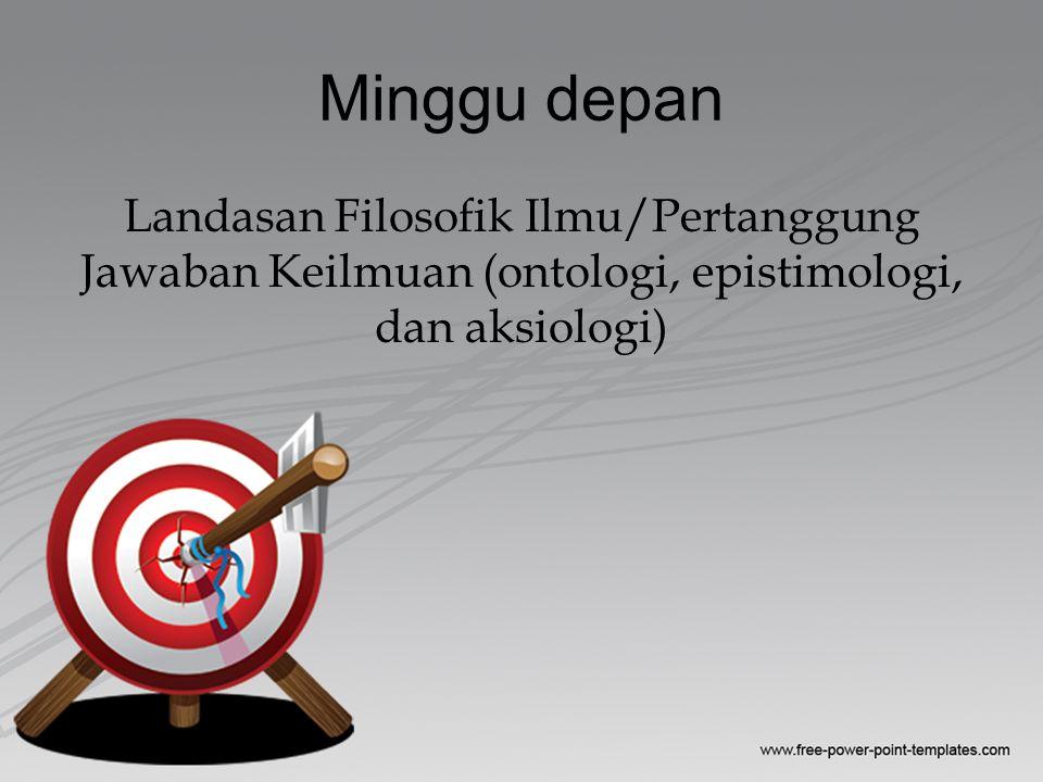 Minggu depan Landasan Filosofik Ilmu/Pertanggung Jawaban Keilmuan (ontologi, epistimologi, dan aksiologi)