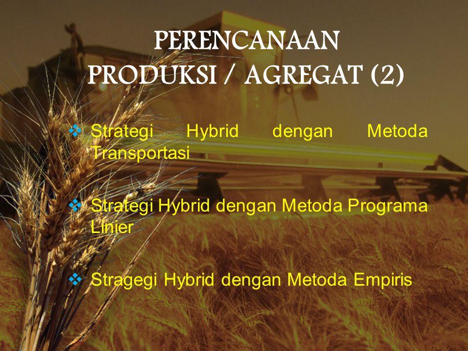 PERENCANAAN PRODUKSI / AGREGAT (2)  Strategi Hybrid dengan Metoda Transportasi  Strategi Hybrid dengan Metoda Programa Linier  Stragegi Hybrid deng