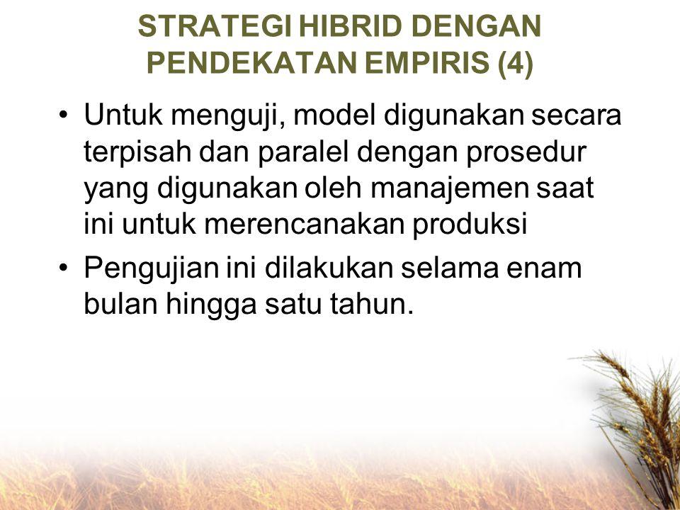 STRATEGI HIBRID DENGAN PENDEKATAN EMPIRIS (4) Untuk menguji, model digunakan secara terpisah dan paralel dengan prosedur yang digunakan oleh manajemen